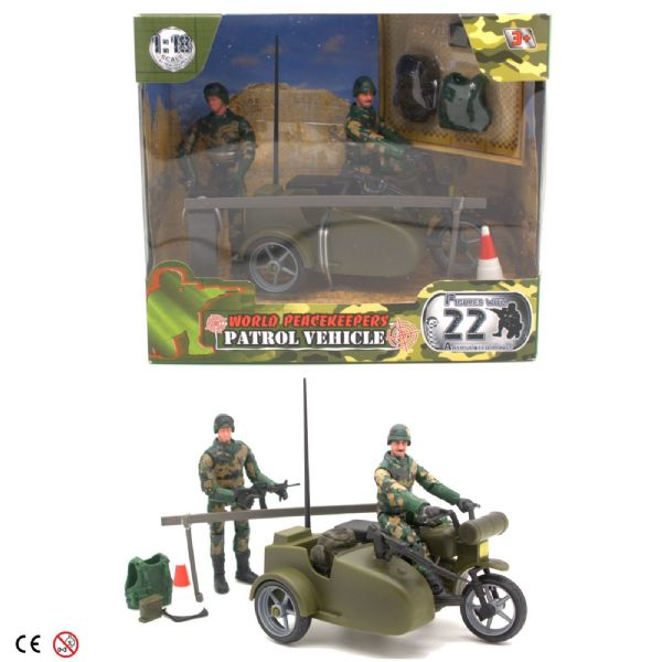 World Peacekeepers Military Patrol Vehicle Army Bike with Sidecar + 2 Figures